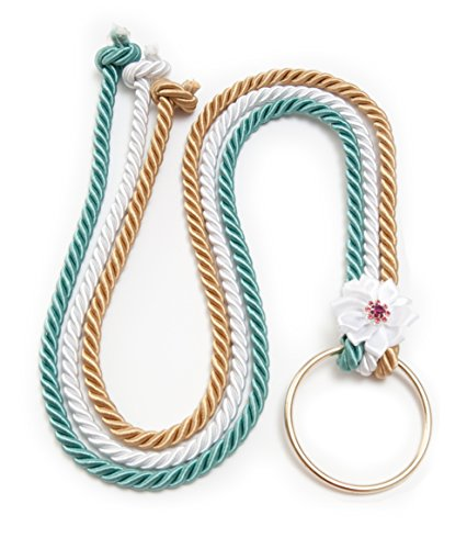 Ceremony Unity Wedding Knot KIT, Unity Knot God - Bride & Groom (Silver, White , Green) Thick Silk Ropes with Gold Ring, Ribbon and Pearl Pendant , 3 Pastor Options, Display Info. Card & String