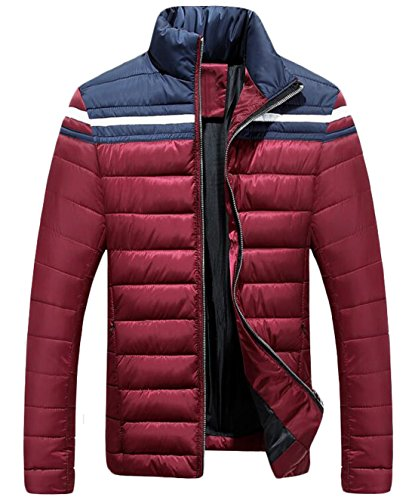 US Slim Stand L Jacket Men's Color Red EKU Block Down Collar Coat Fashion ZwxOf