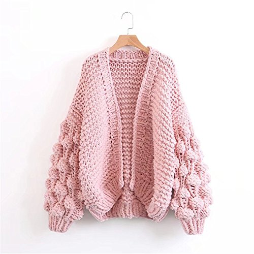 Loose Women's Pink Solid QXH sleeve Color Long Cardigan Knitting Sweaters xRnawq4Y