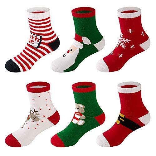 6 Pack Baby Boy Girl Toddler Socks Christmas Holiday Cotton Funny Crew Socks for Gift