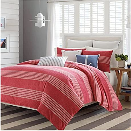 3 Piece Nautical Geometric Stripe Design Comforter Set King Size Featuring American Patriot Coastal Inspired Reversible Bedding Contemporary Stylish Bedroom Decoration White Red Multicolor