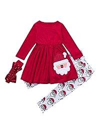 3pcs Toddler Girls Christmas Set, Vinjeely Santa Tops+Pants+Headbands