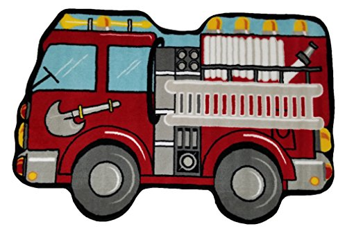 Fun Rugs Fun Time Shape Fire Engine Home Decorative Accent Area Rug - Fun Shapes Time