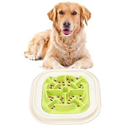AOLVO comedero Interactivo de alimentación Lenta, alimentador ecológico antigoteo para Mascotas, comedero para Mascotas