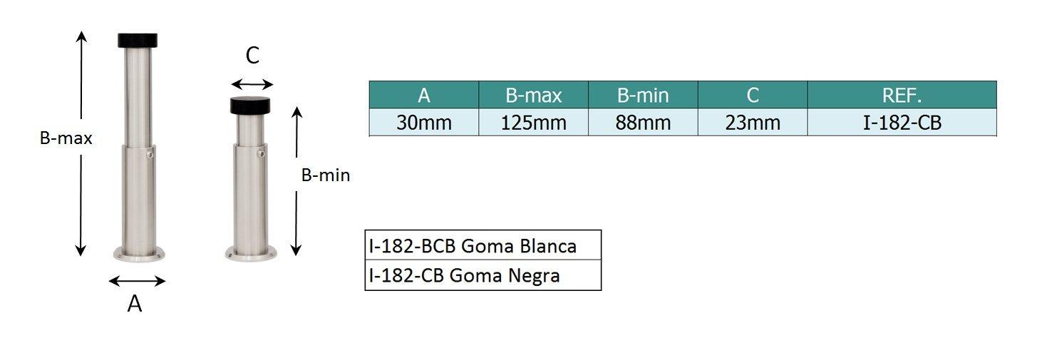 EVI Herrajes I-182-CB Tope de Puerta Regulable de Pared, Acero Inoxidable. Nueva Version con Base roscada y Bloqueo de Seguridad.
