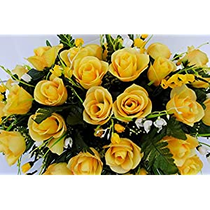 Yellow Rose with White Accent Flowers Cemetery Saddle Arrangement for Headstone Decoration 3