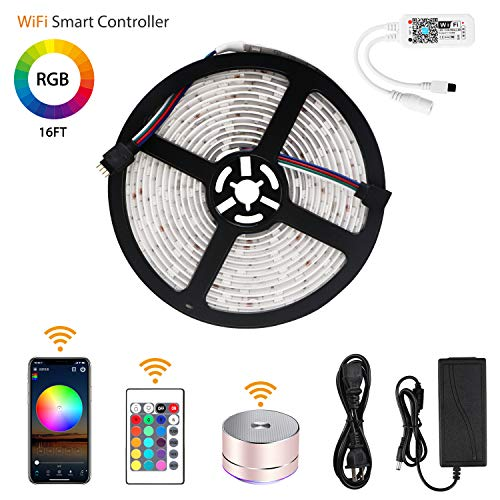 LED Strip Lights, Relohas WiFi Wireless Smart Phone Controlled Light Strip Kit 16.4ft 150leds 5050 Waterproof IP65 LED Lights,Working with Android and iOS System,IFTTT, Google Assistant