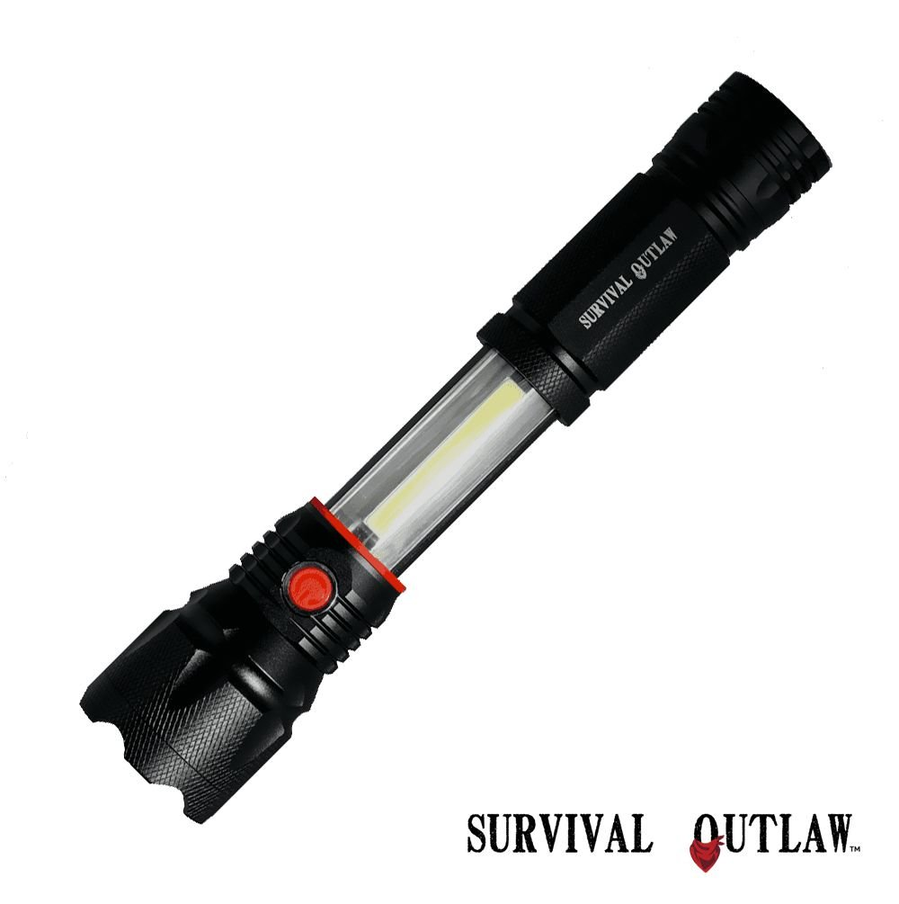 Bright Cree LED Tactical Flashlight Lantern - Magnetic Base - COB Work Light - Red Emergency Strobe - Water Resistant - AAA by SURVIVAL OUTLAW (Image #2)