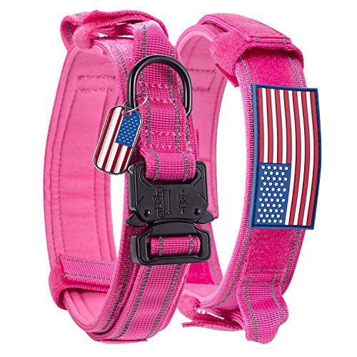 Dog Collar Tactical Highly Reflective Military Pet Collar Nylon with a American Flag Patch and a American Flag Pendant K9 Collar with Metal Buckle and Control Handle for L Pink