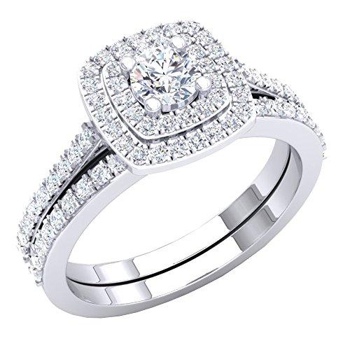 Dazzlingrock Collection 1.50 Carat (ctw) 14K Round Cubic Zirconia Ladies Bridal Ring Set 1 1/2 CT, White Gold, Size 9 ()