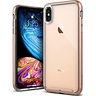 Caseology Skyfall for iPhone Xs Max Case (2018) - Clear Back & Slim Fit - Gold