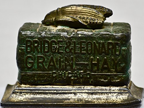1930's - Bridge & Leonard Grain-Hay : Chicago - Antique Paperweight - Bronze Patina - Rare