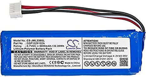 Version Fits JBL GSP1029102A Li-Polymer 3.70V 6000mAh//22.20Wh 2016 2016 Cameron Sino Battery For JBL Charge 3 Charge 3