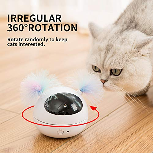 HIPIPET Automatic Cat Laser Toys Interactive Kitten Toy for Indoor Cats Random Rotating Smart On/Off Robotic Electronic Cat Toy Low Noise Battery Powered