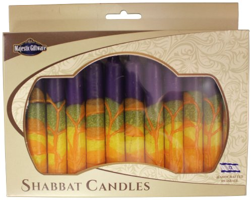 Majestic Giftware SC-SHHR-P Safed Shabbat Candle, 5-Inch, Harmony Purple, 12-Pack (12 Shabbat Safed Candles)