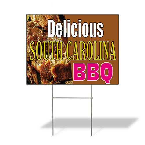 (Plastic Weatherproof Yard Sign Delicious South Carolina BBQ A Barbeque from South Caroina BBQ Yellow for Sale Sign Multiple Quantities Available 18inx12in One Side Print One Sign)
