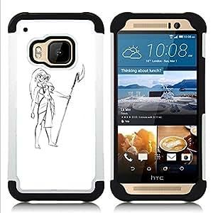 BullDog Case - FOR/HTC ONE M9 / - / GIRL HAWAII ATTIRE SPEAR BEACH DRAWING ART /- H??brido Heavy Duty caja del tel??fono protector din??mico - silicona suave