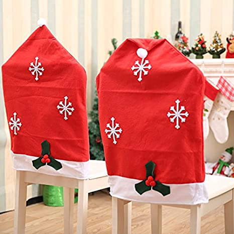 Too Goods Santa Hat Christmas Chair Covers,Santa Clause Red Hat Kitchen Dining Chair Back Slipcover for Xmas Holiday Festive Decor (4)