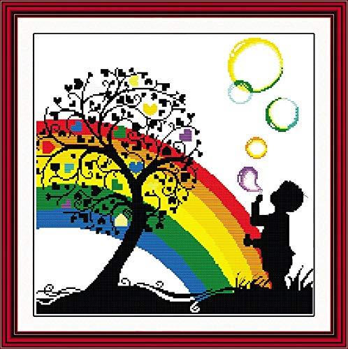 (Rainbow Bubble Boy Kid Cartoon Needlework,DMC Cross Stitch,Baby Embroidery Kits,Patterns Counted Cross-Stitching,DIY Handmade)
