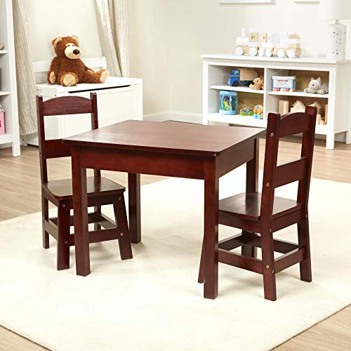 Melissa & Doug Wooden Table and Chairs Set (Natural, White, Espresso Brown, Great Gift for Girls and Boys - Best for 3, 4, 5, 6, 7 and 8 Year Olds) (Chairs Oak Table 6 With)