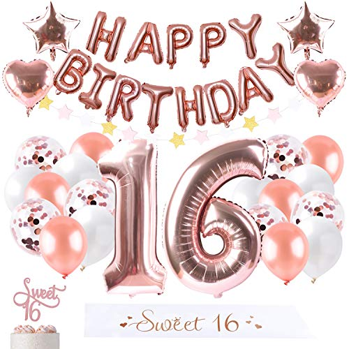 16th Birthday Decoration Party Supplies Sweet 16 Gifts for Girls Sixteen Cake Topper Rose Gold Decoration Confetti Balloon Garland Happy Birthday Banner 16 sash