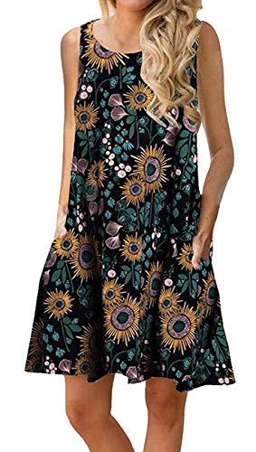 ANDUUNI Womens Summer Sleeveless Casual Swing Tunic Tops Loose Pockets Tank Dress Blouses for Beach (X-Large, Sun Flower - Pocket Tunic Tank