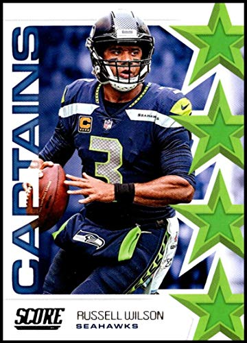 100% authentic 60930 4a776 2019 Score NFL Captains #3 Russell Wilson Seattle Seahawks Official  Football Card made by Panini