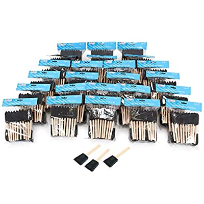 US Art Supply 2 inch Foam Sponge Wood Handle Paint Brush Set (Value Pack of 20) - Lightweight, Durable and Great for Acrylics, Stains, Varnishes, Crafts, Art