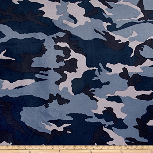 Minky Camo Navy/Blue Fabric By The - Fabric Camouflage Blue