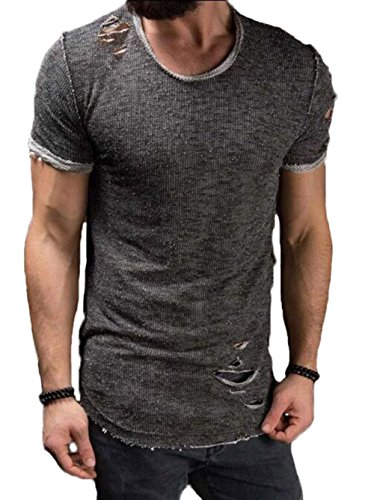 Men's Short Sleeve Crew Neck Slim Fit Fitness T-Shirt Tops with Ripped Holes