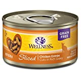 Wellness Complete Health Natural Grain Free Wet Canned Cat Food, Sliced Chicken Entrée, 3-Ounce Can (Pack of 24)