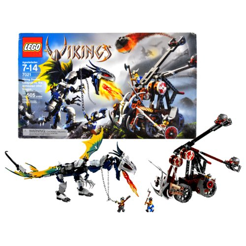 Lego Year 2006 Vikings Series Collectible Set #7021 - Viking Double Catapult vs. The Armoured Ofnir Dragon with 3 Viking Warrior Minifigures (Total Pieces: 505)