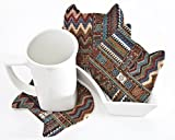 Tribal Coasters, Cat Tea Mats, set of 4, housewarming gifts, Coasters for Cups, Cat Lover Gift