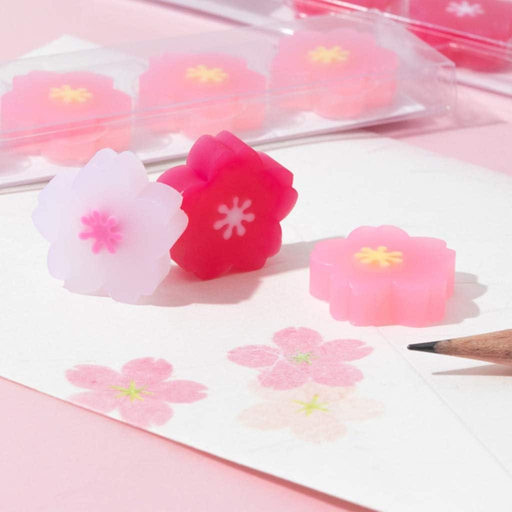 HR-COME Papeterie Sakura Etudiants Outil de correction au crayon Fleurs de cerisier en caoutchouc 5 pi/èces//pack