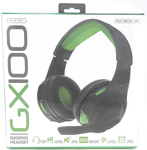 GX100 Gaming Headset PS4 XBOX1 PC 40mm Drivers Noise Isolation Simulated Surround Boom Mic - Sentry Headphones Computers