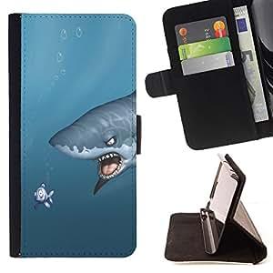 KingStore / Leather Etui en cuir / LG Nexus 5 D820 D821 / Shark & Fish - Funny
