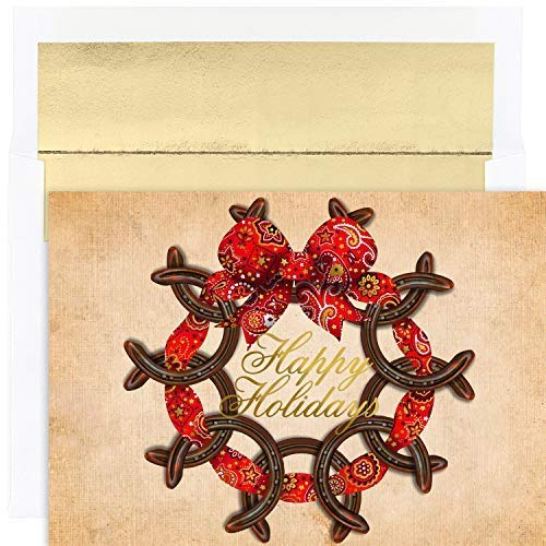 Masterpiece Warmest Wishes 18-Count Christmas Cards, Horseshoe Wreath