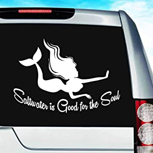 Mermaid Saltwater is Good for The Soul Vinyl Decal Sticker Bumper Cling for Car Truck Window Laptop MacBook Wall Cooler Tumbler | Die-Cut/No Background | Multi Sizes/Colors, 8-Inch, White
