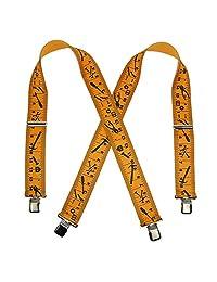 CTM® Men's Elastic Clip-End 2 Inch Tape Measure Suspenders, Yellow/Black