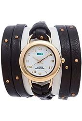 La Mer Collections Women's LMSATURN1570 Black-Gold Stud Saturn Wrap Watch