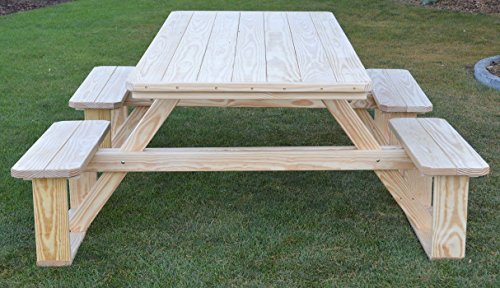 A&L Furniture 8' Amish-Made Rectangular Pressure-Treated Pine Walk-In Picnic Table with Umbrella Hole, Unfinished