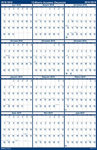 House of Doolittle 2018 - 2019 Laminated Academic Wall Calendar, Reversible, 24 x 37 Inches, July - June (HOD395 19) - Vertical Wall Calendar