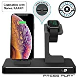 ONE Dock (APPLE CERTIFIED) Power Station Dock, Stand & Built-in Lightning Connector for Apple Watch Smart Watch (Series 5,4,3,2,1 Nike+), iPhone, iPad & iPod (Black)
