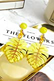 KENHOI Beauty long yellow leaf-shaped earrings earings dangler eardrop creative korean women girls college style fashion elegant