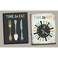 Adorable Grey, Teal and Yellow Time To Eat Clock and Fork, Spoon and Knife Set by Michael Mullan; Kitchen Decor; Two 11x14in Canvases