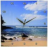 3dRose Patricia Sanders Hawaii Tropical Beach Wall Clock, 10 by 10-Inch
