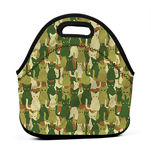 Rugged Lunchbox Camo,Kitten Silhouettes Jungle,lunch back bag for men ()