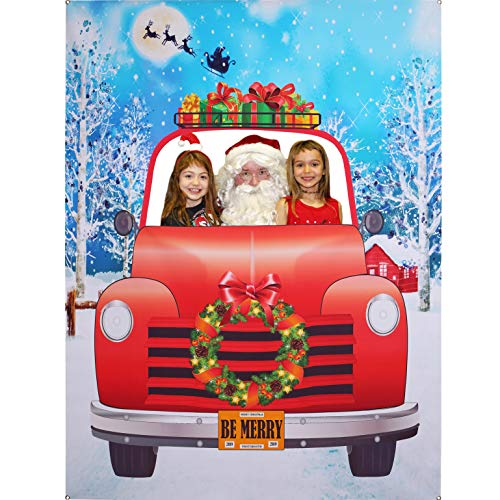Christmas Photo Booth Prop Frame, Giant Fabric Photo Backdrop, Christmas Party Decorations, Funny Xmas Party Games Supplies, 6.6 x 5 ft (Funny Photos Xmas)