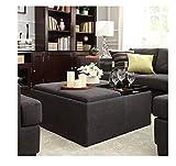 36 Inch Storage Ottoman INSPIRE Q Montrose Dark Grey Linen Upholstered Storage Cocktail Ottoman