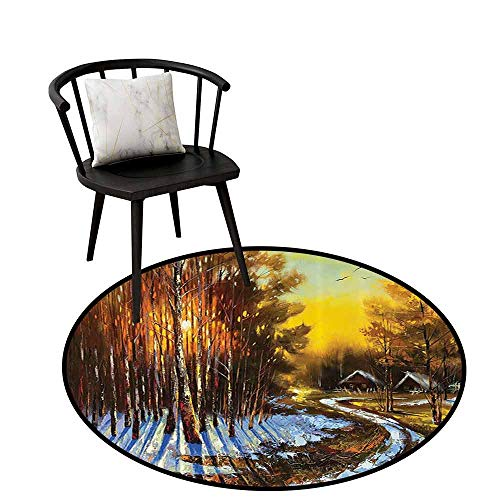 Modern Round Rug Lakehouse Decor Collection for Bedroom Oil Painting View Rural Winter Landscape Sun Beams Coming Between Trees Rustic Houses Rearmost Birds Flying in The Sky ong D35(90cm)